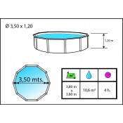 SILVER COLOR circular 350x120 cm FUCSIA Filtro 3,6 m3/h
