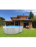 Piscina PIEDRA GRIS CIRCULAR 400x90 cm Filtro cartucho 2 m³/h. piscinas desmontables