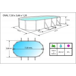 Piscina MURO CIRCULAR 640x120 cm Filtro 6 m³/h. piscinas desmontables